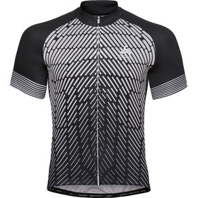 Odlo Fujin Print Stand-Up Collar SS Full Zip Shirt Men black-odlo silver grey